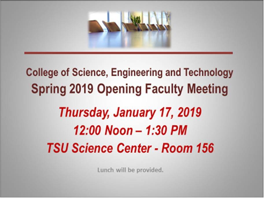 spring 2019 opening faculty meeting